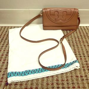 "Tory Burch ""All-T"" Leather Crossbody Bag - Small"